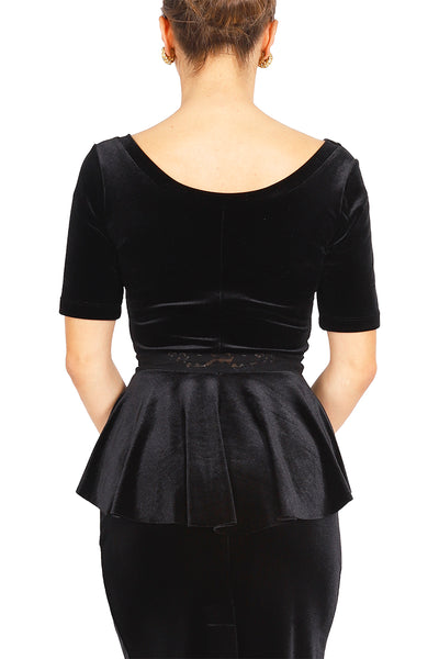 Black Velvet Top With Ruffled And Lace Details