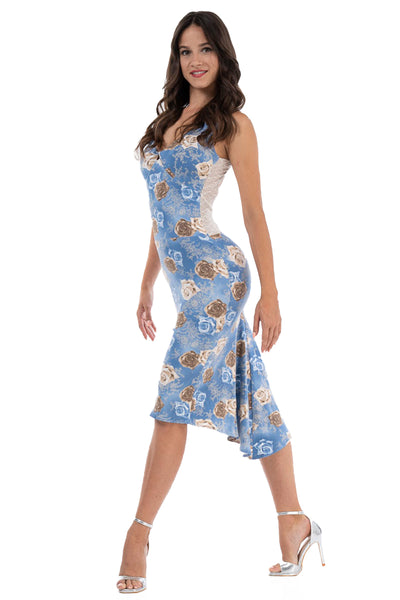 Turquoise Velvet Tango Performance Dress With Long Sleeves