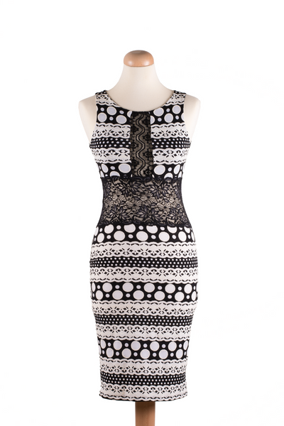 Black and white bodycon tango dress with lace details