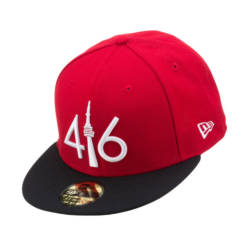 416 New Era 59FIFTY - RED/BLACK VISOR/WHITE LOGO