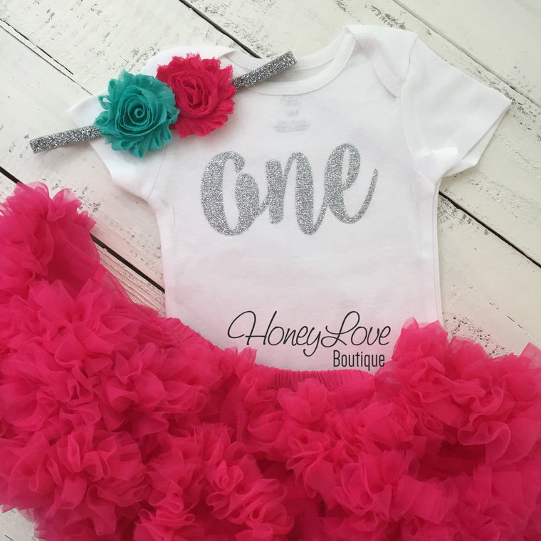 One - Birthday Outfit - Silver or Gold and watermelon pink/turquoise - HoneyLoveBoutique
