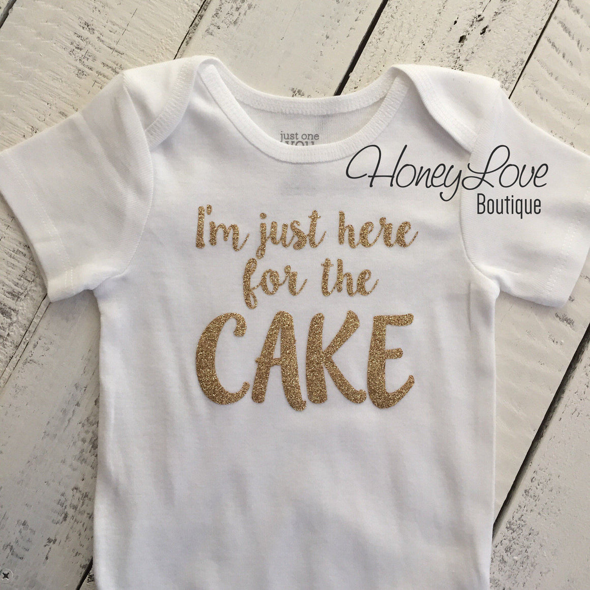 I'm just here for the CAKE! - Silver or Gold glitter bodysuit - HoneyLoveBoutique