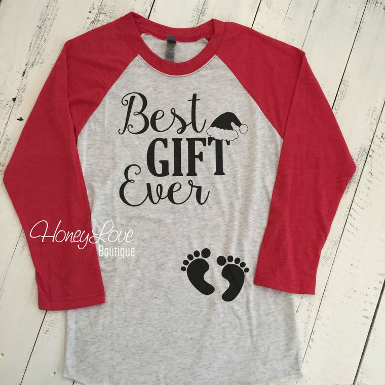 Best GIFT Ever with Santa hat  - Christmas Pregnancy Announcement - HoneyLoveBoutique