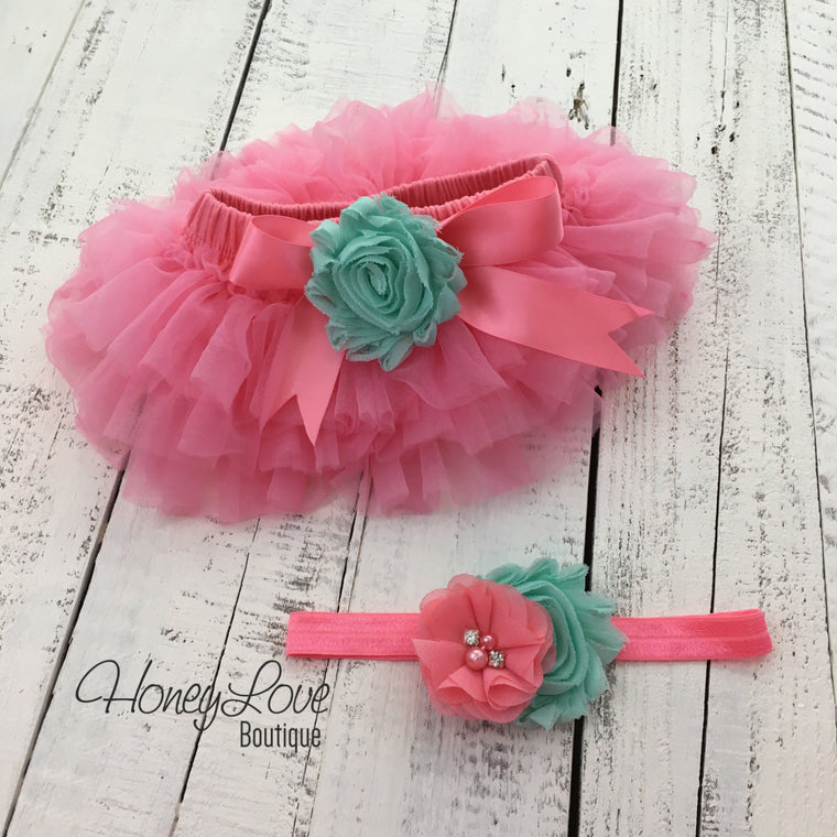 Coral Pink/Mint/Aqua Embellished tutu skirt bloomers and headband - HoneyLoveBoutique