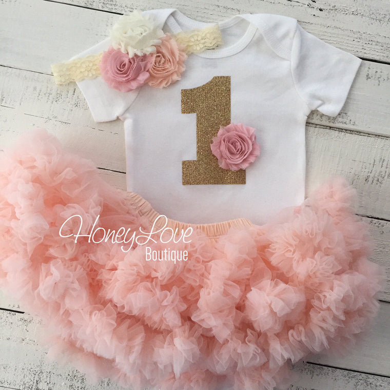 1st Birthday Outfit - Peach, Blush Pink and Ivory - HoneyLoveBoutique