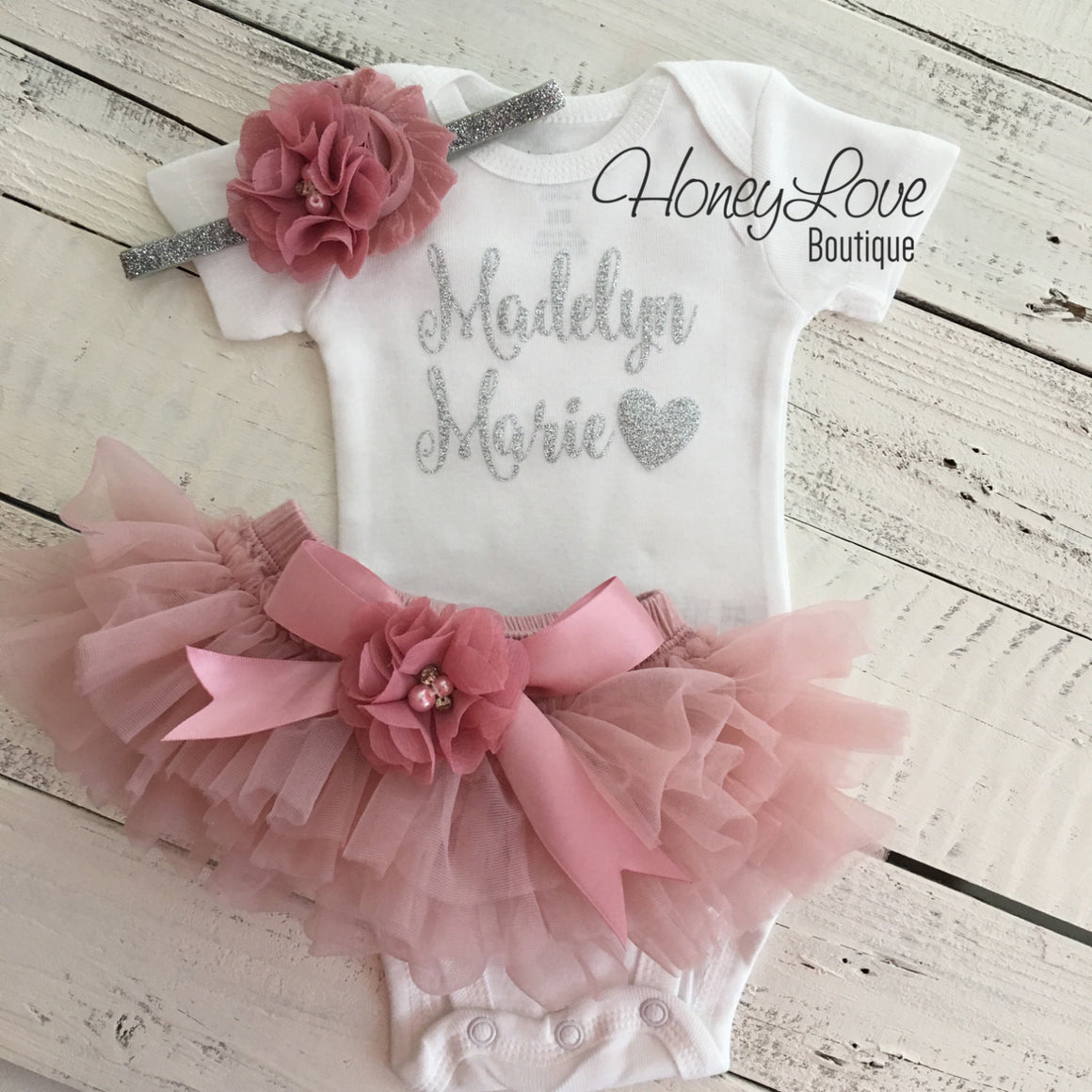 PERSONALIZED Name Outfit - Silver Glitter and Vintage Pink - embellished bloomers - HoneyLoveBoutique