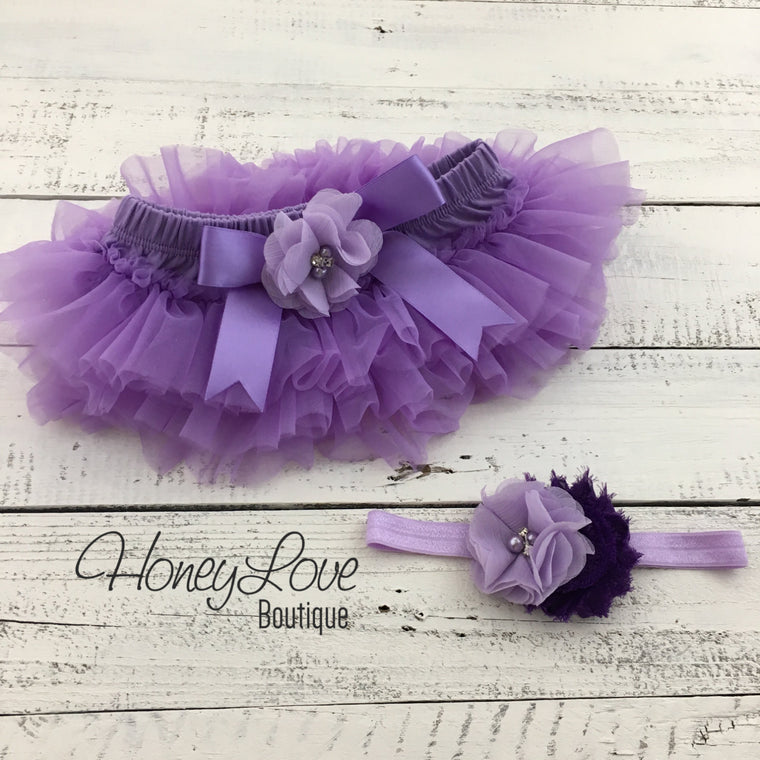 Lavender Purple tutu skirt bloomers and headband - Embellished bloomers - HoneyLoveBoutique