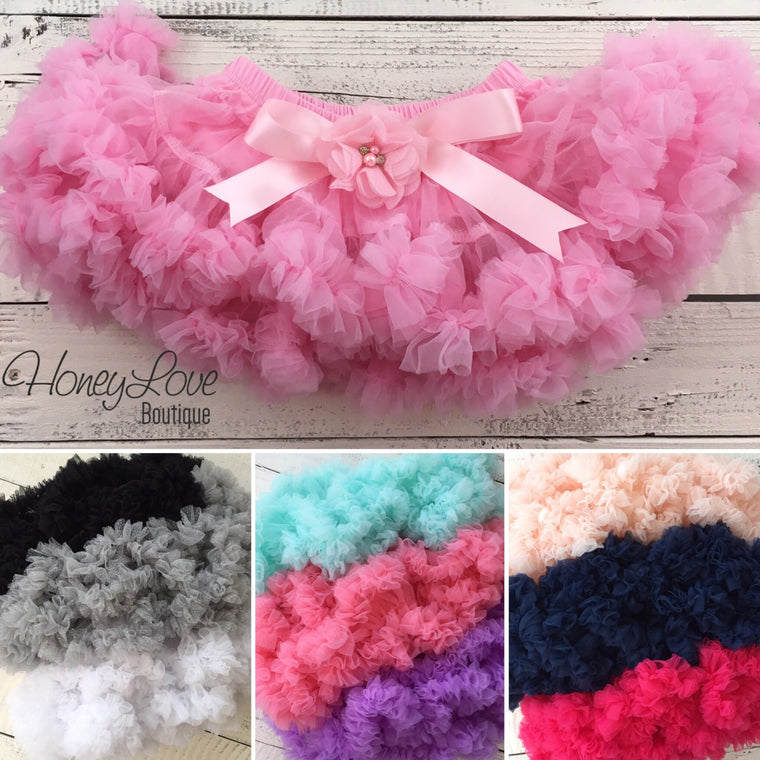 Pettiskirt - 18 COLORS! - embellished flower and satin bow - HoneyLoveBoutique