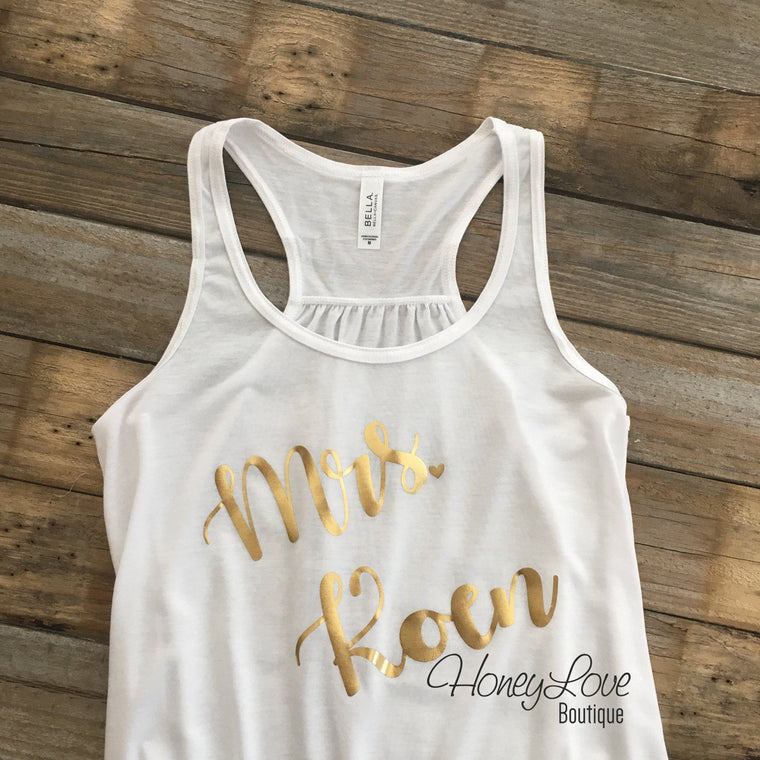 PERSONALIZED Mrs. Last Name flowy tank - Gold foil - HoneyLoveBoutique