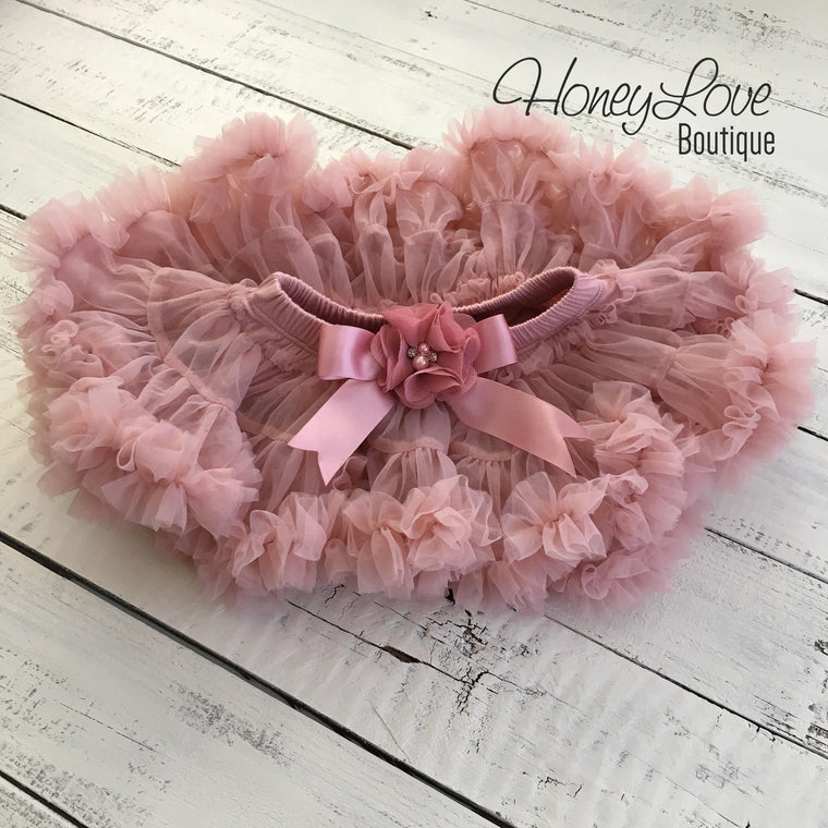 Vintage Pink Pettiskirt - embellished flower - HoneyLoveBoutique