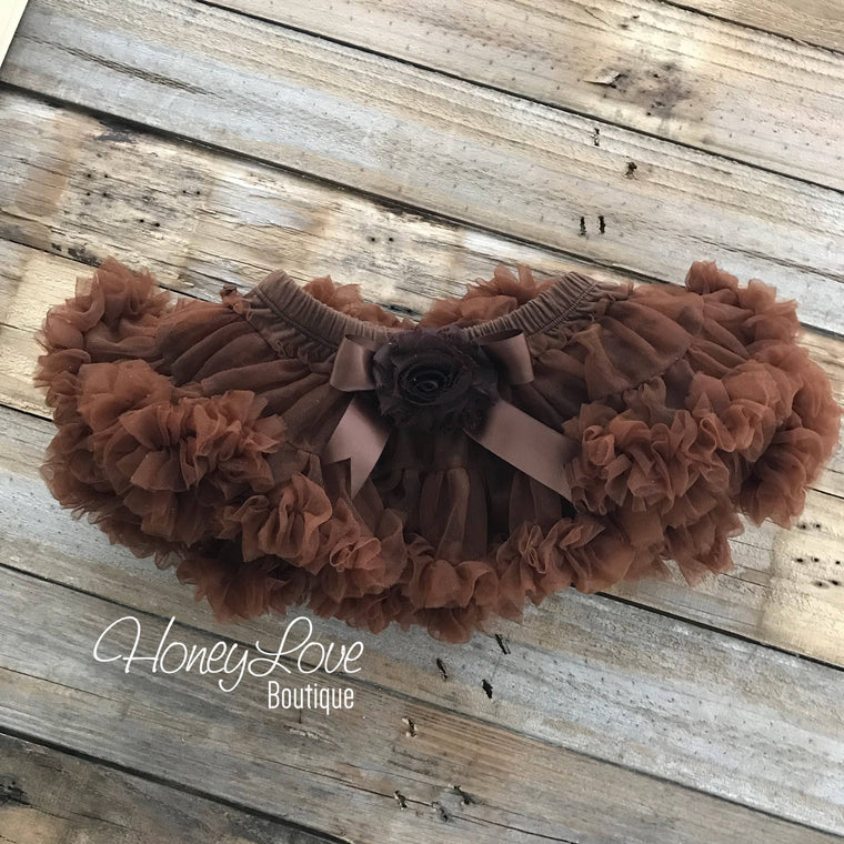 Brown Pettiskirt - embellished brown shabby flower - HoneyLoveBoutique