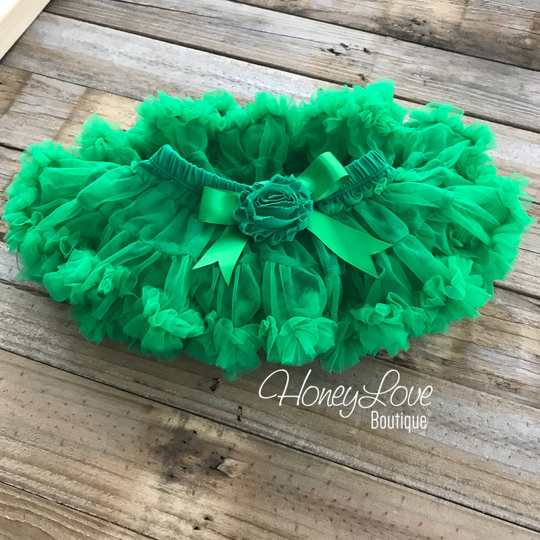 Kelly Green Pettiskirt - embellished flower - HoneyLoveBoutique