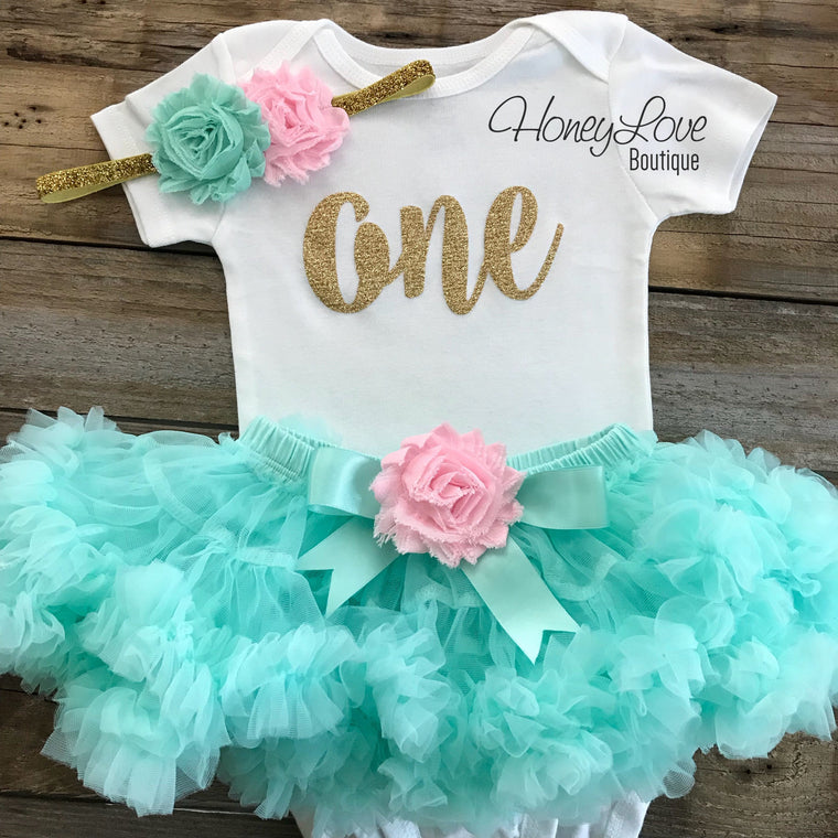 One - Birthday Outfit - Mint/Aqua, Light Pink and Silver/Gold glitter - HoneyLoveBoutique