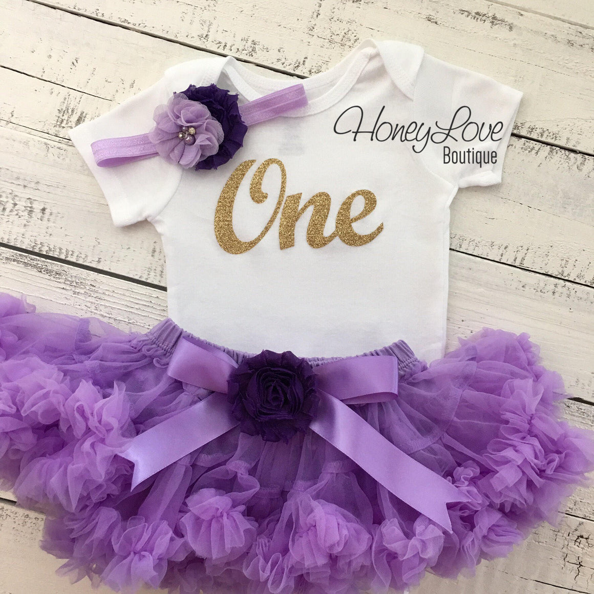 One - Birthday Outfit - Lavender Purple and Silver/Gold Glitter - embellished grape flower pettiskirt - HoneyLoveBoutique