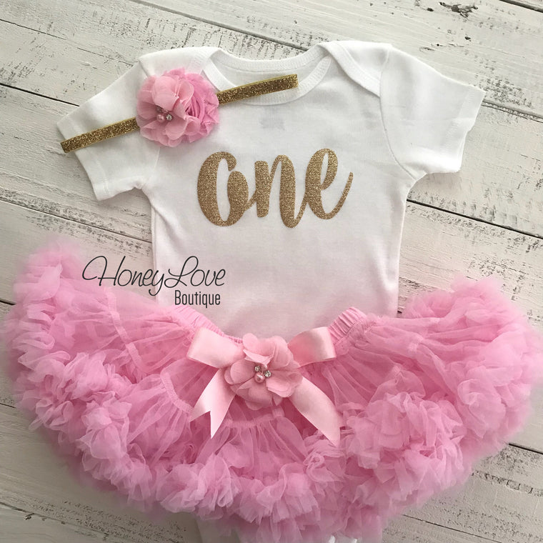 One - Birthday Outfit - Gold or Silver with light pink - embellished pettiskirt - HoneyLoveBoutique