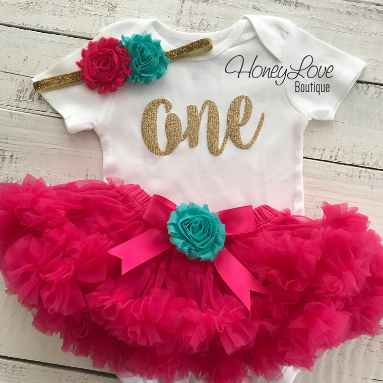 One - Birthday Outfit - Silver or Gold and watermelon pink/turquoise - embellished pettiskirt - HoneyLoveBoutique