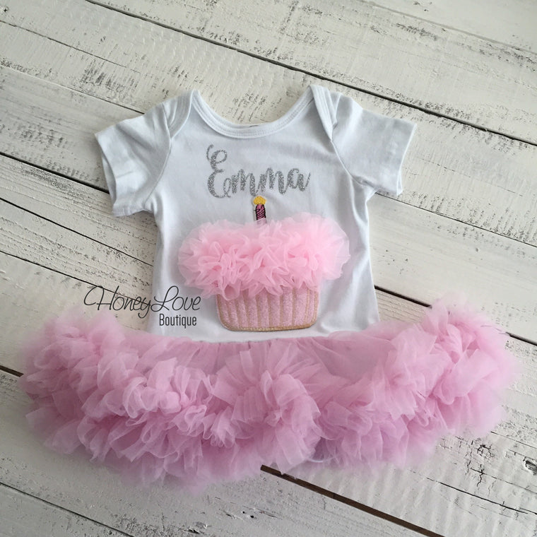 Personalized Cupcake Tutu Dress - Silver or Gold glitter - HoneyLoveBoutique