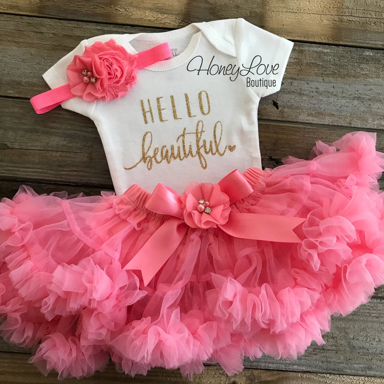 Hello Beautiful Outfit - Gold Glitter and Coral Pink Pettiskirt - HoneyLoveBoutique