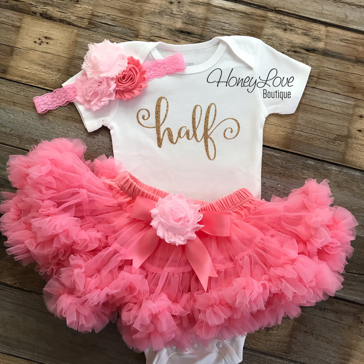 Half Birthday Outfit - Coral Pink and Gold Glitter - embellished pettiskirt - HoneyLoveBoutique