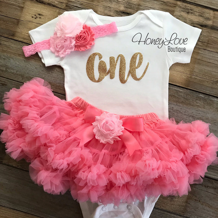 One - Birthday Outfit - Coral Pink and Gold Glitter - embellished pettiskirt - HoneyLoveBoutique