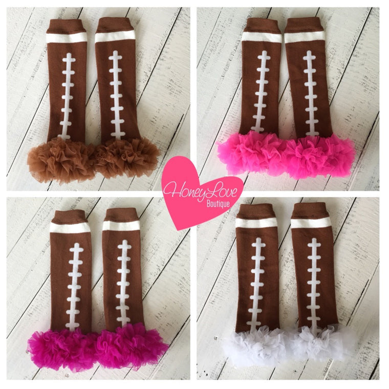 Football Leg Warmers with ruffle - Brown, White, Pink, Magenta/Plum - HoneyLoveBoutique