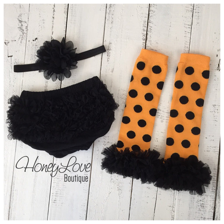 Halloween Set - Orange and black polka dot leg warmers - black ruffle bloomer - matching flower headband - HoneyLoveBoutique