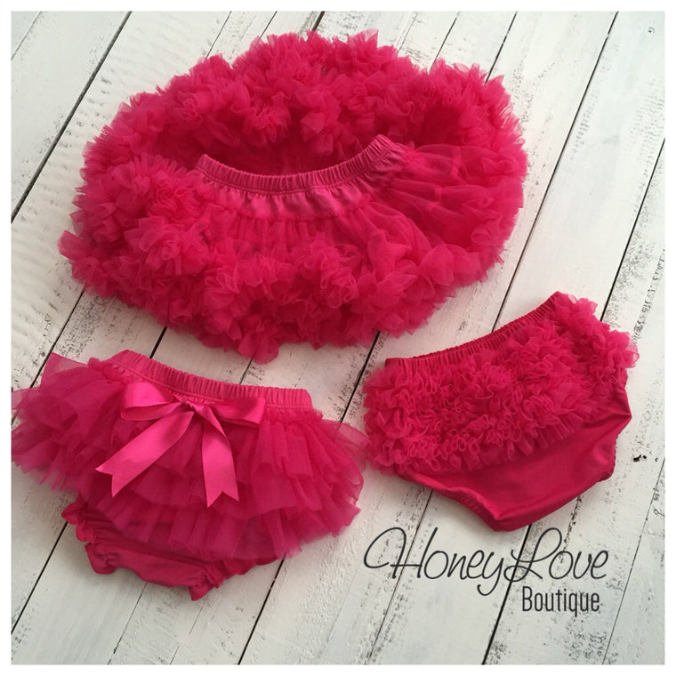 Watermelon Pink - Pettiskirt - Tutu Skirt - Ruffle Bottom Bloomer - HoneyLoveBoutique