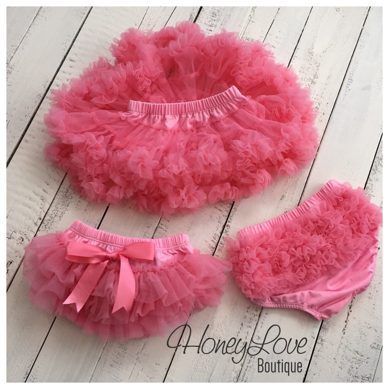 Coral Pink - Pettiskirt - Tutu Skirt Bloomer - Ruffle Bottom Bloomer - HoneyLoveBoutique