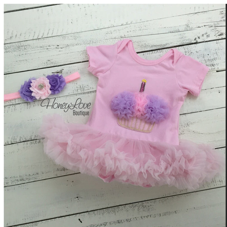 Cupcake Tutu Dress and matching rhinestone headband - Pink and Purple - HoneyLoveBoutique