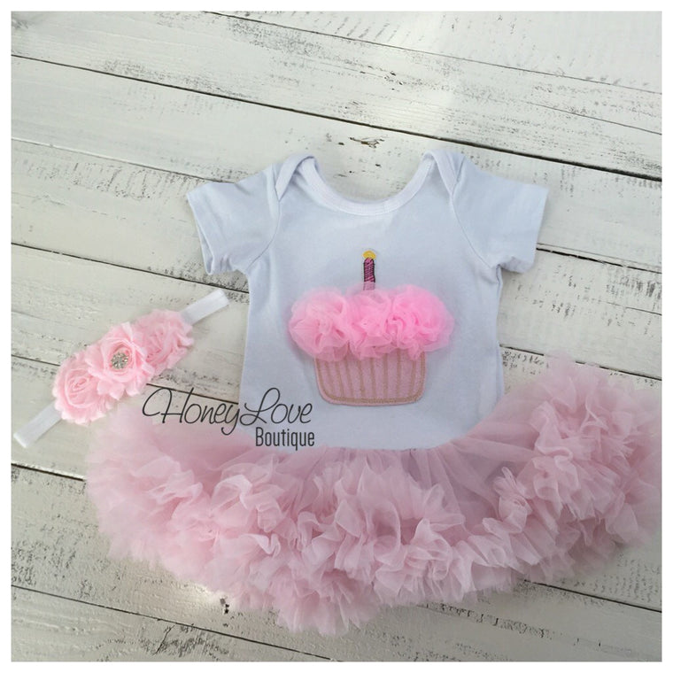 Cupcake Tutu Dress and matching rhinestone headband - Pink - HoneyLoveBoutique