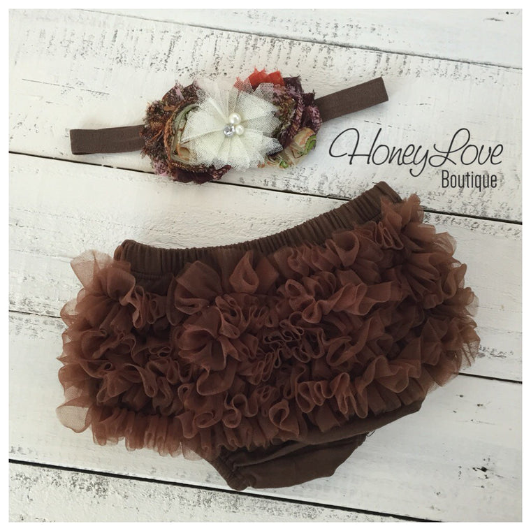 Brown ruffle bottom bloomer and headband - HoneyLoveBoutique