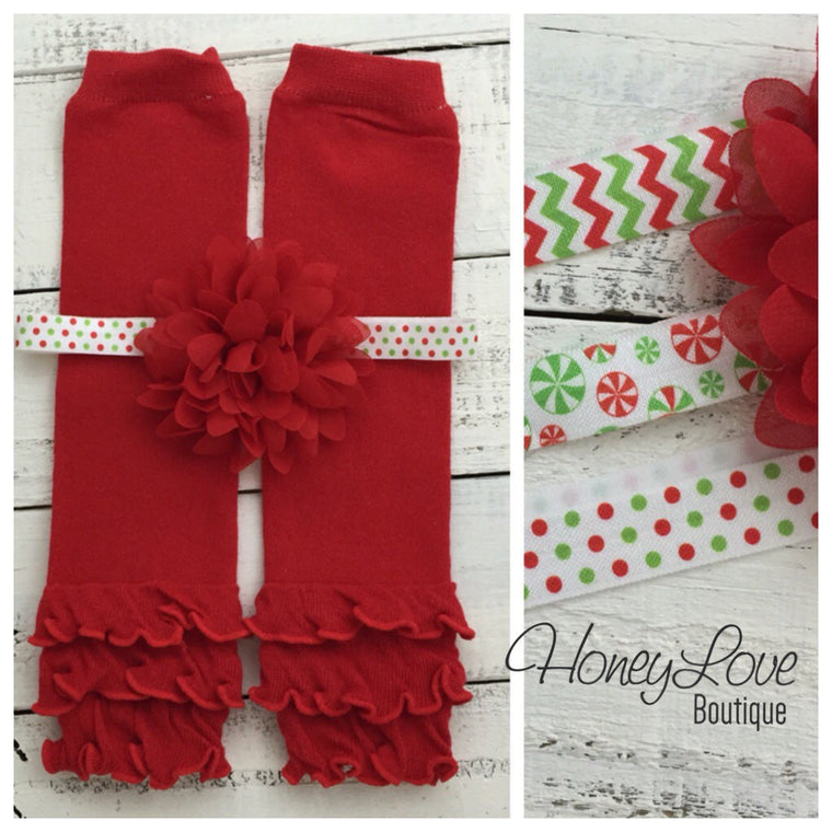 Red ruffle bottom leg warmers and choice of headband - HoneyLoveBoutique