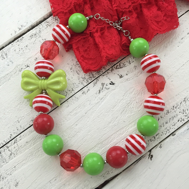 Christmas chunky beaded necklace - HoneyLoveBoutique