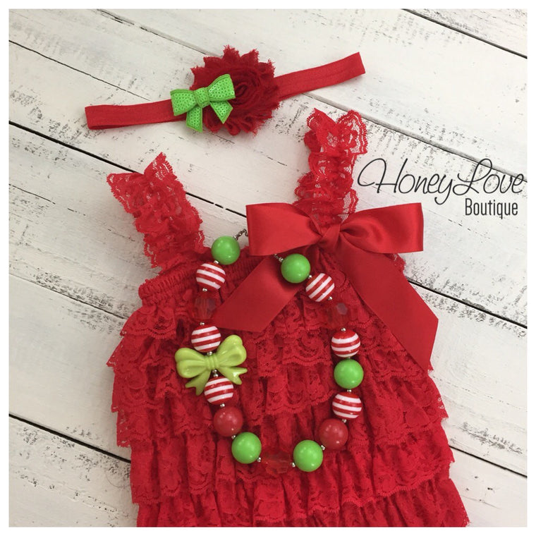 Christmas Red Lace Petti Romper and optional necklace - HoneyLoveBoutique