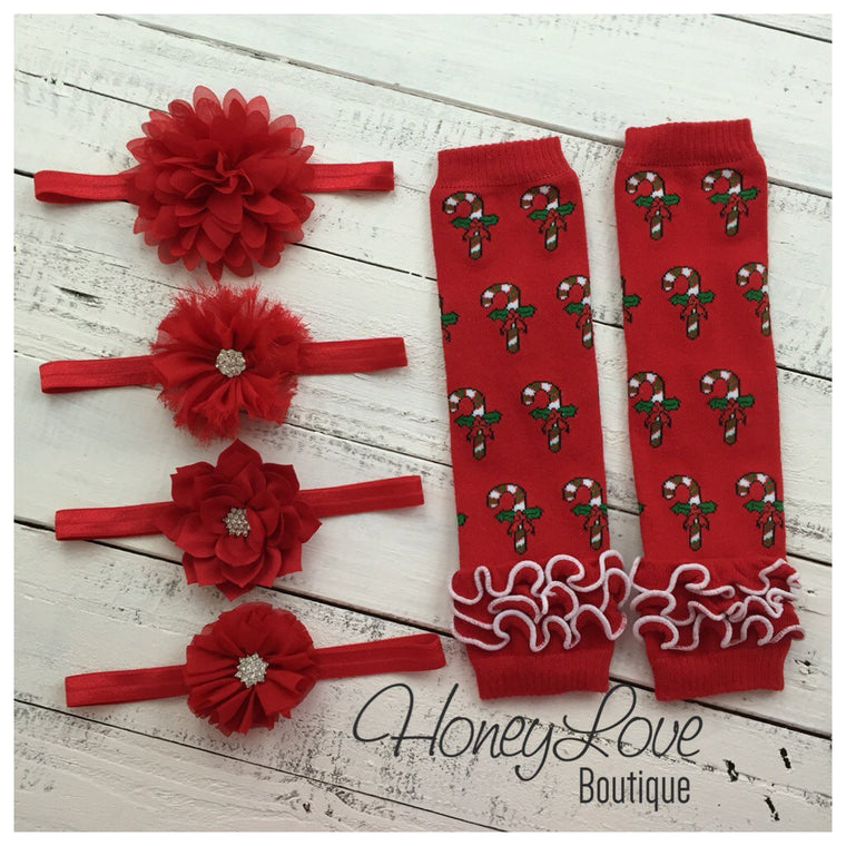 Red Candy Cane leg warmers and your choice of headband - HoneyLoveBoutique