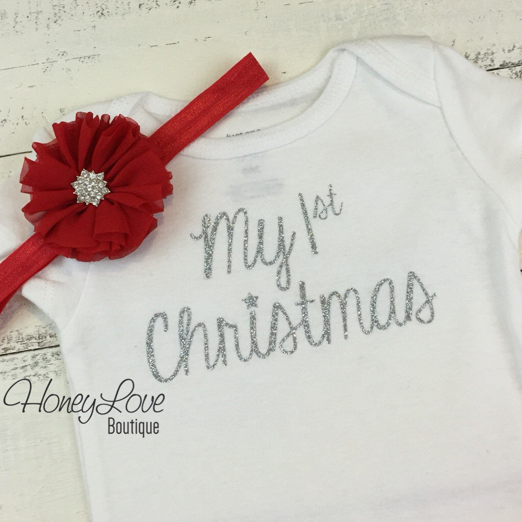 My 1st Christmas Bodysuit and Headband Set - HoneyLoveBoutique