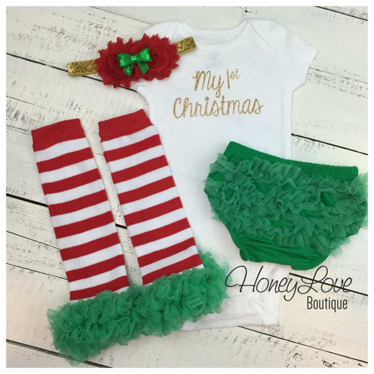 My 1st Christmas 4 piece Set  - Green, Red and Gold - HoneyLoveBoutique