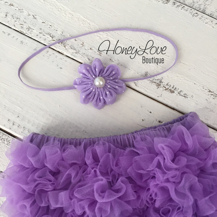 Lavender Purple ruffle bottom bloomer and polka dot flower/skinny headband - HoneyLoveBoutique