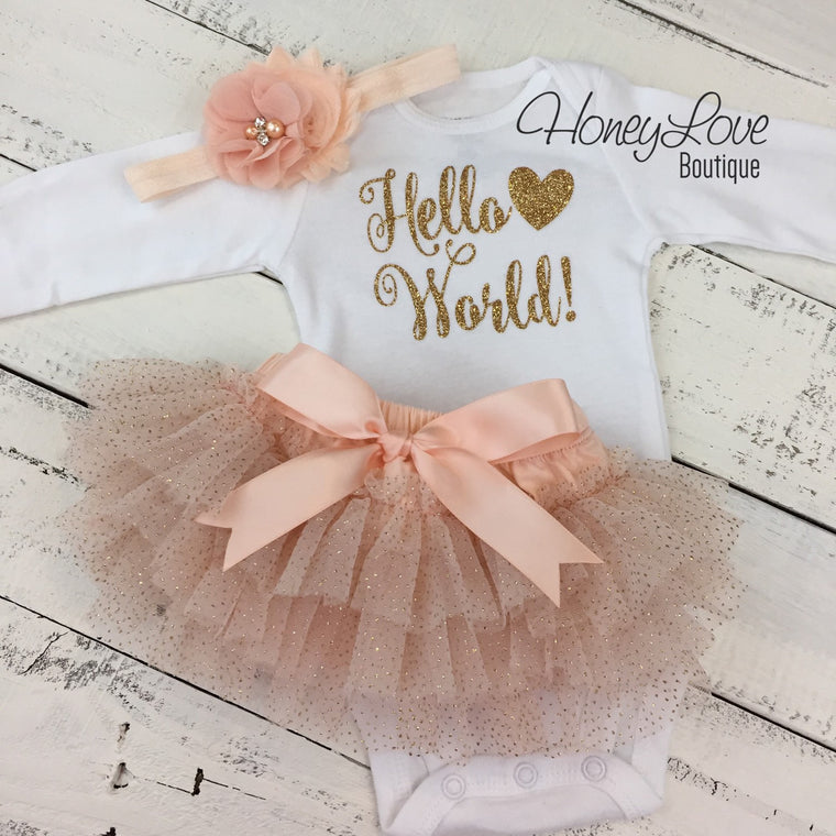 Hello World! Gold glitter and Peach glitter - HoneyLoveBoutique
