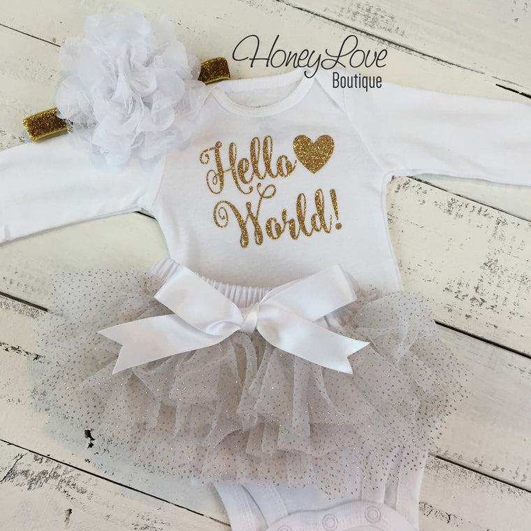 Hello World! Gold Glitter and White/Gold Glitter tutu skirt bloomers - HoneyLoveBoutique
