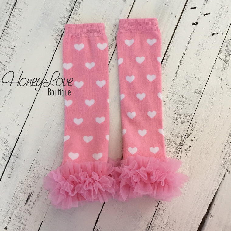 Leg Warmers - Light pink with white hearts and pink ruffle bottom - HoneyLoveBoutique