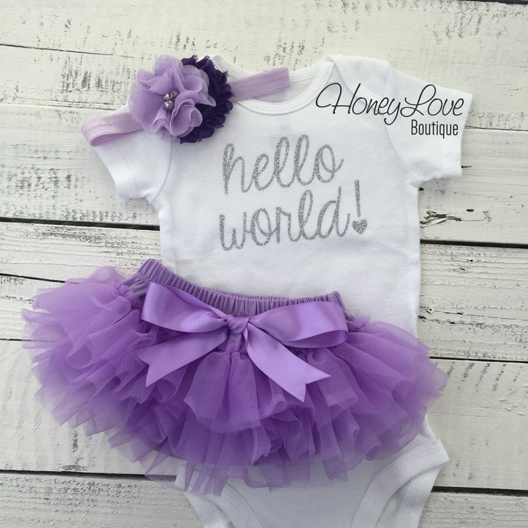 hello world! Outfit - Silver/Gold glitter and Lavender Purple - HoneyLoveBoutique