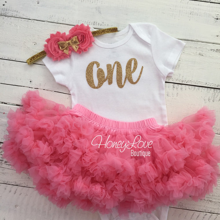One - Birthday Outfit - Coral and Gold glitter - HoneyLoveBoutique