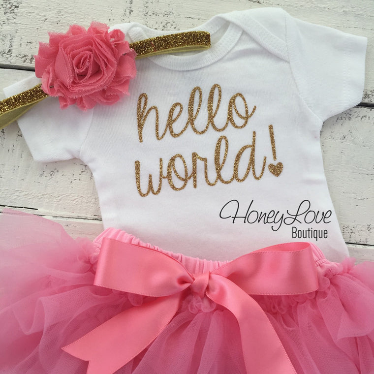 hello world! Outfit - Coral Pink and Gold/Silver Glitter - HoneyLoveBoutique
