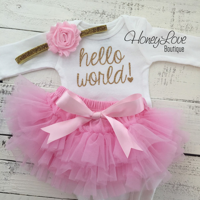 hello world! Outfit - Light Pink and Gold/Silver glitter - HoneyLoveBoutique