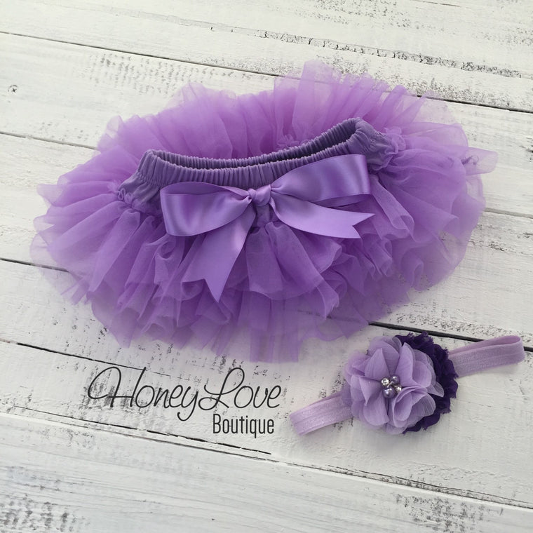 Lavender Purple tutu skirt bloomer and headband - HoneyLoveBoutique