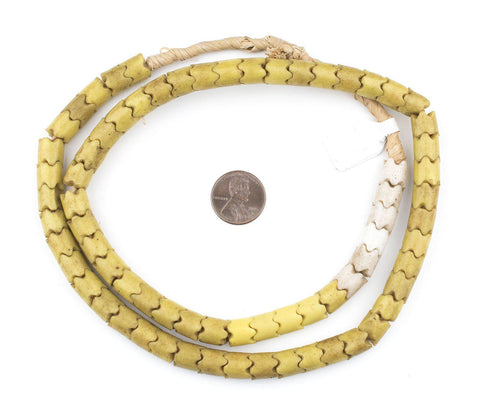 Wide Yellow Glass Snake Beads (9mm) - The Bead Chest