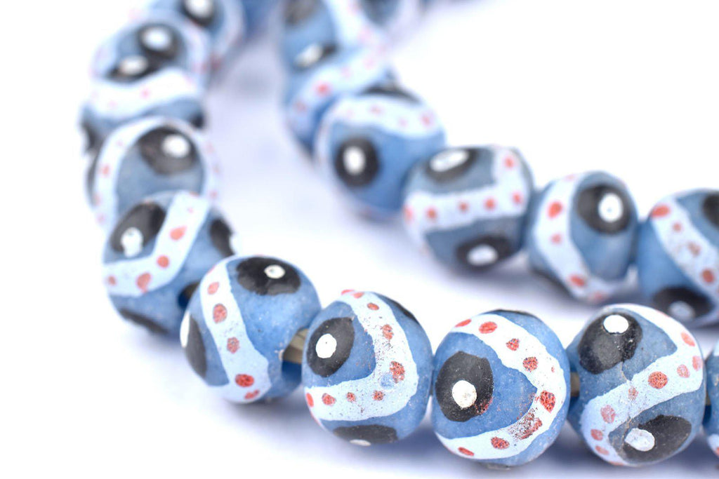 Grey Eye Round Krobo Beads - The Bead Chest