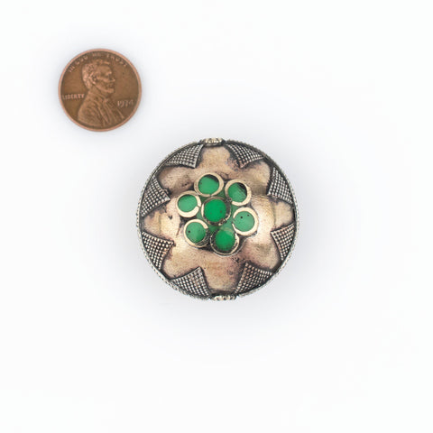 Bright Green Round Inlaid Afghani Brass Bead Pendant (36x28mm) - The Bead Chest