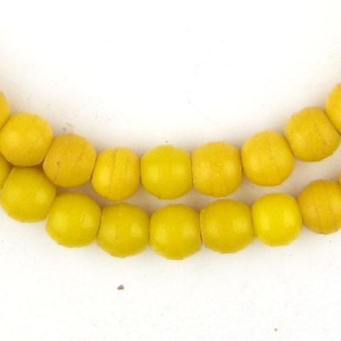 Image of Sunflower Yellow Round Nigerian Olombo Padre Beads - The Bead Chest